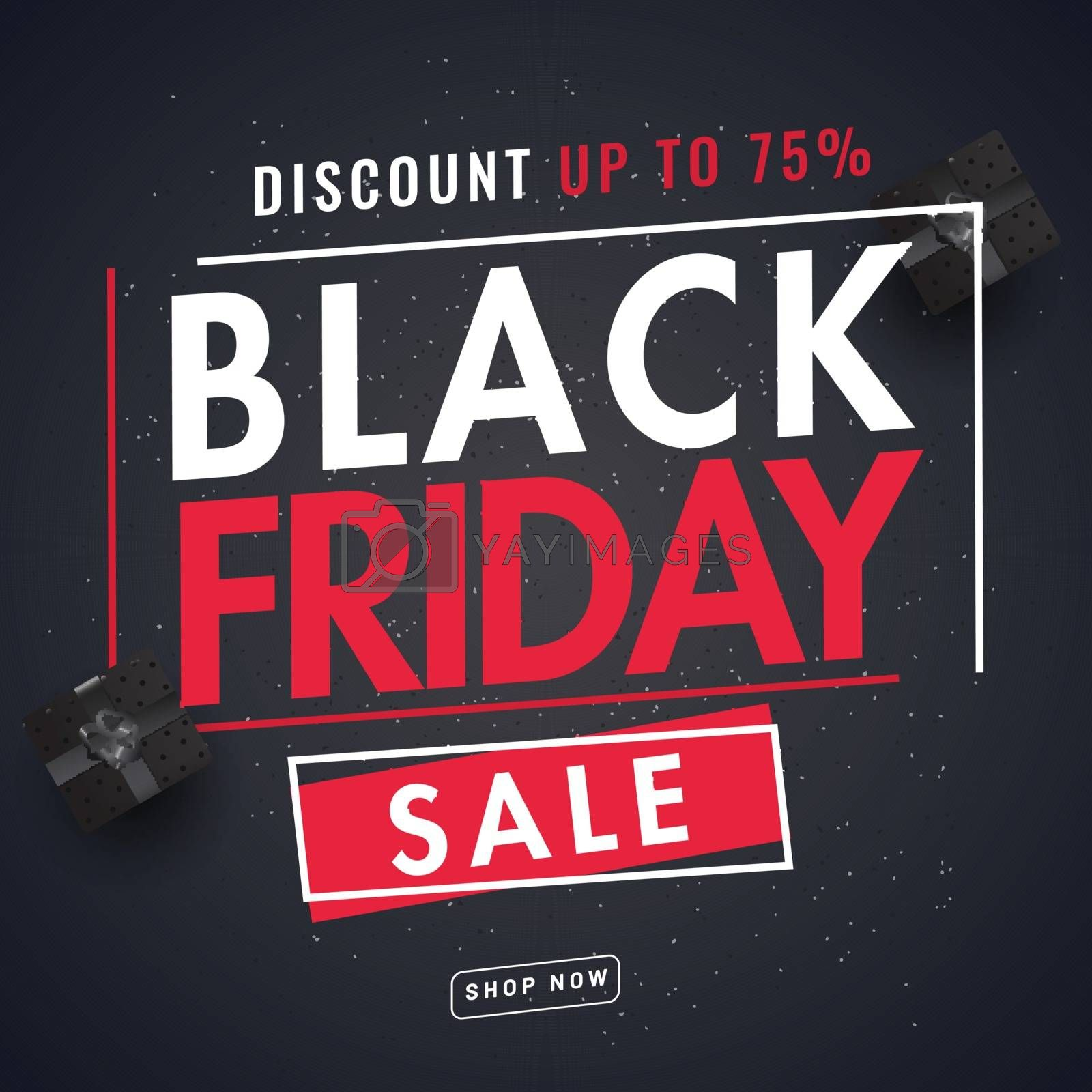 Website template design for Black Friday Sale with 75% discount offer.