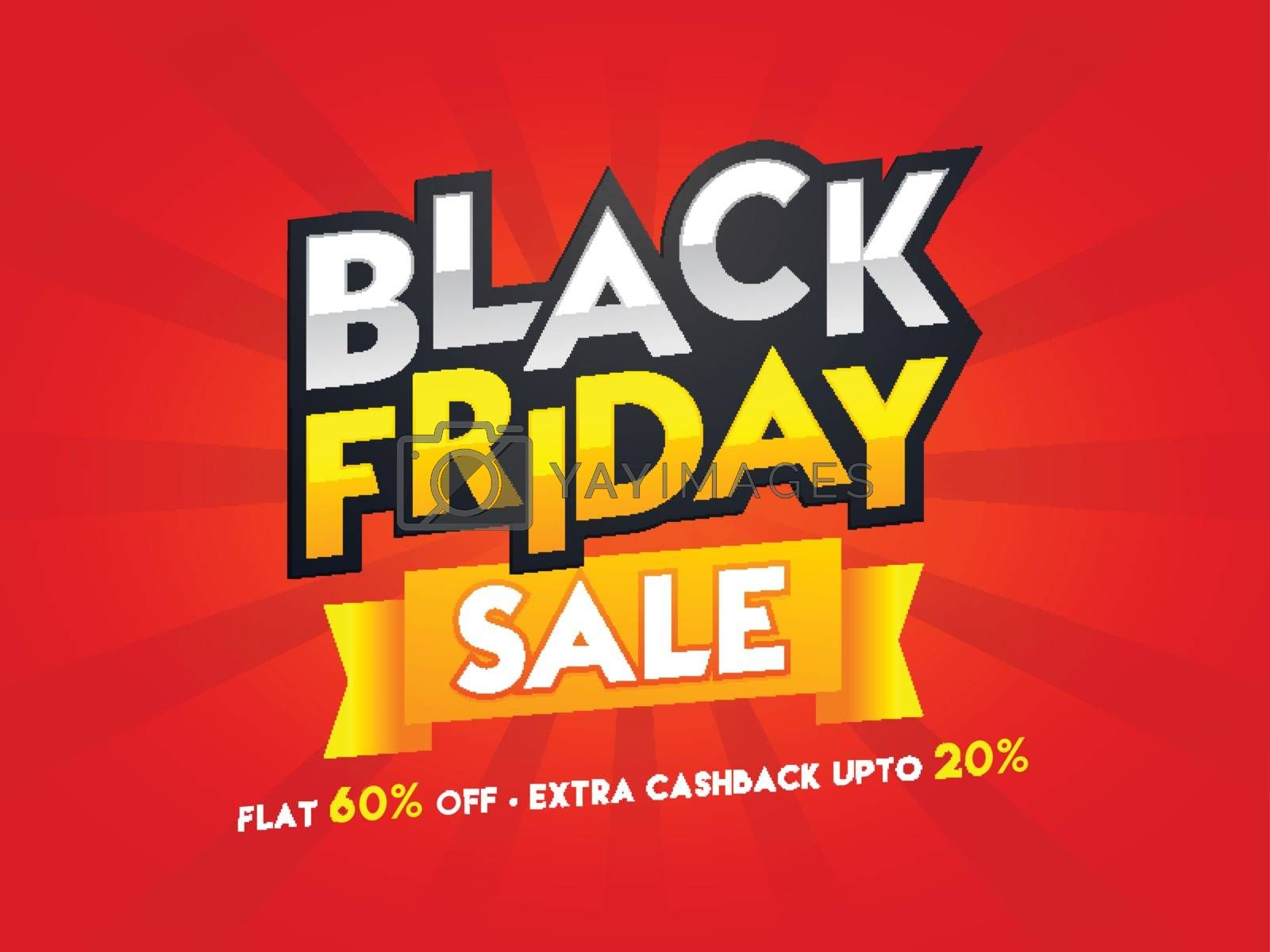 Flat 60% with extra 20% discount offer on red ray background for Black Friday Sale poster or template design.