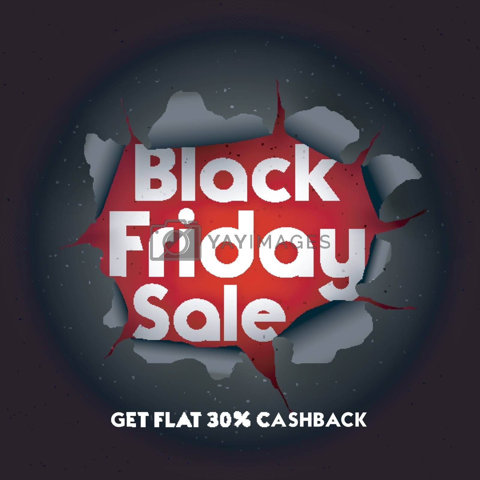 Black Friday Sale with 30% cashback offer. Advertising template or flyer in torn paper style.