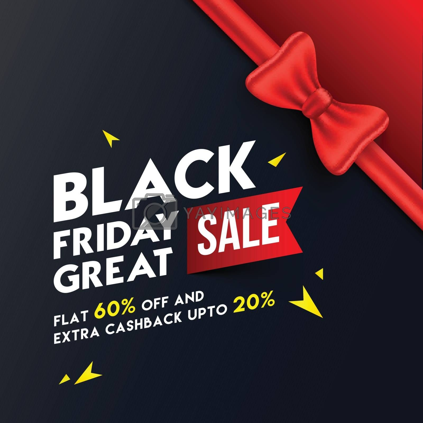 Great Black Friday Sale template or flyer design, flat 60% with extra 20% discount offer and illustration of glossy red ribbon