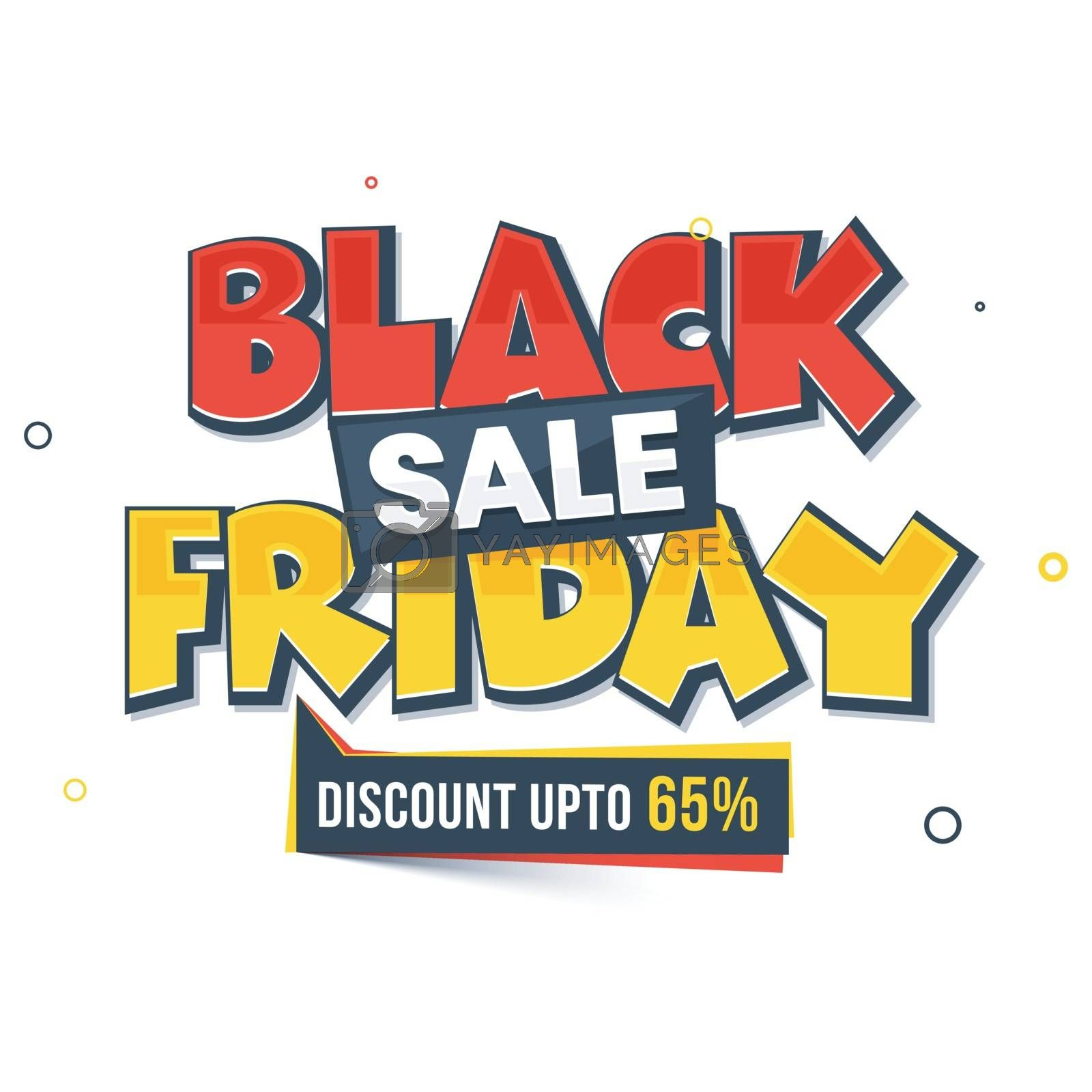 Black Friday Sale template or flyer design with 65% discount offer.