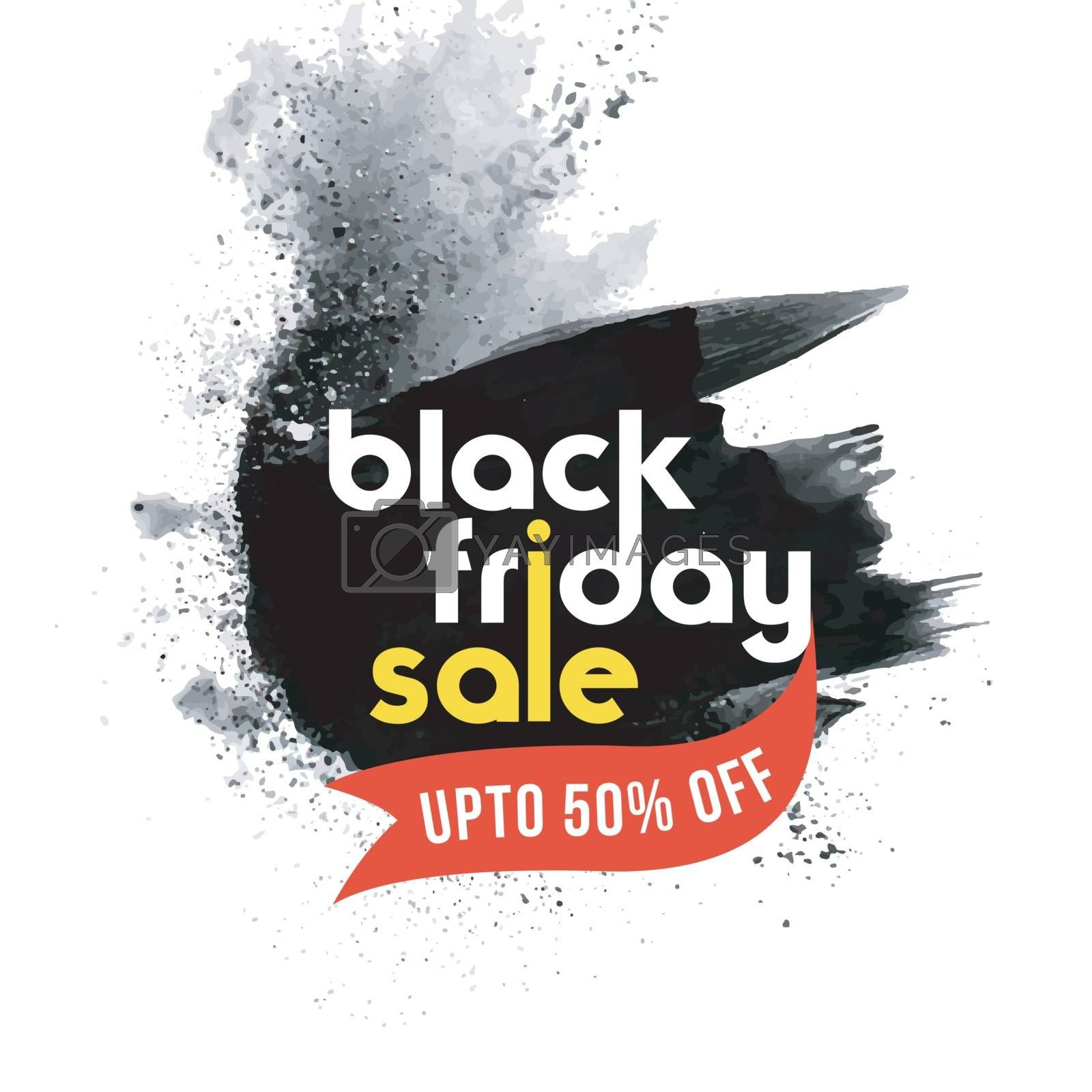 Creative advertising template design with 50% discount offer on Black Friday Sale.