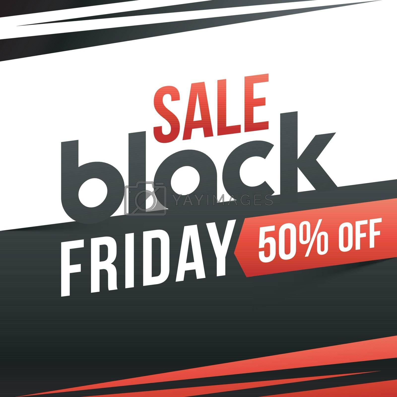 Advertising template or flyer design with 50% discount offer on Black Friday Sale.