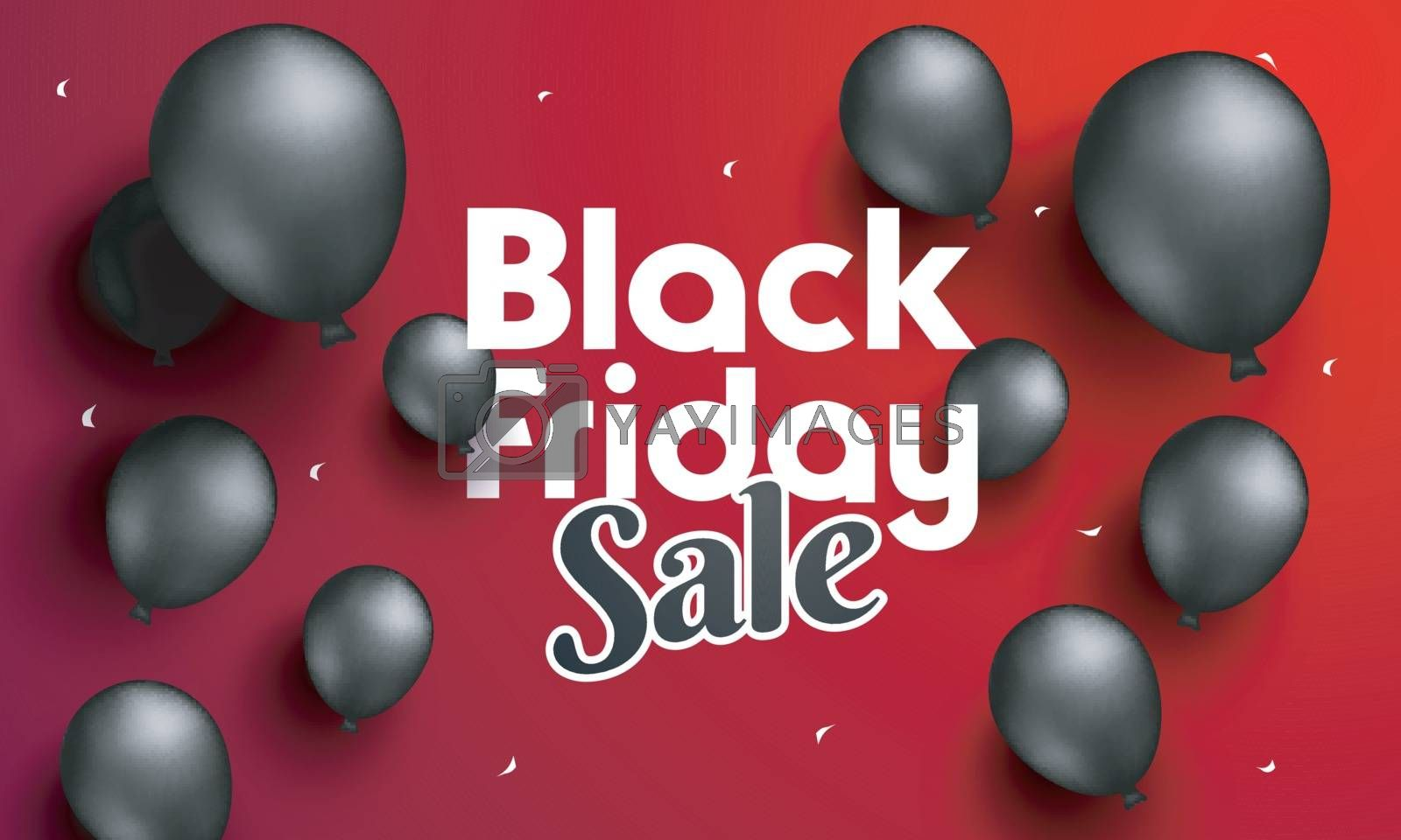 Black Friday Sale poster or banner design, realistic black balloons decoration on red background for advertisement concept.