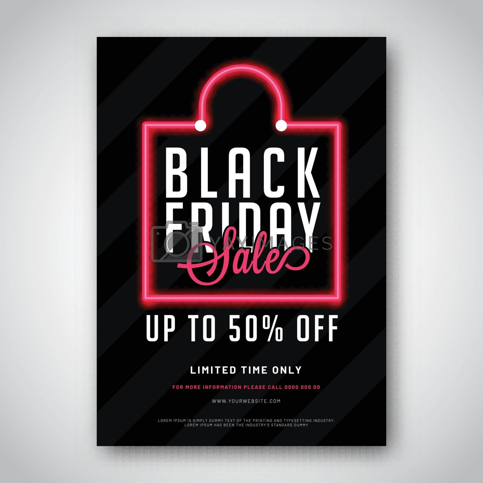 Advertising template or flyer design for Black Friday Sale with 50% discount offer.