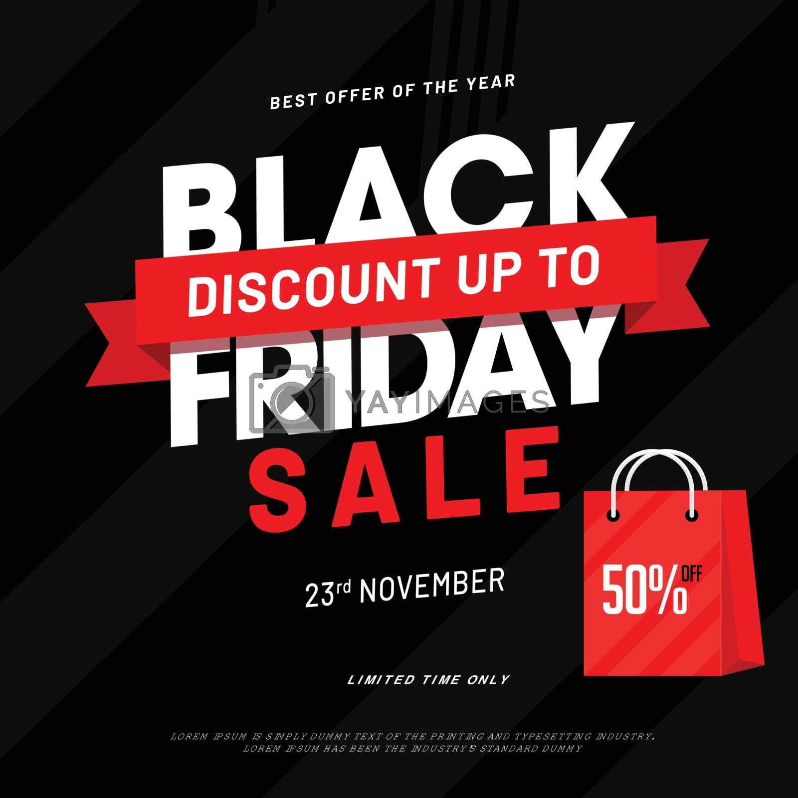 Advertising poster or template design with 50% discount offer on Black Friday Sale.