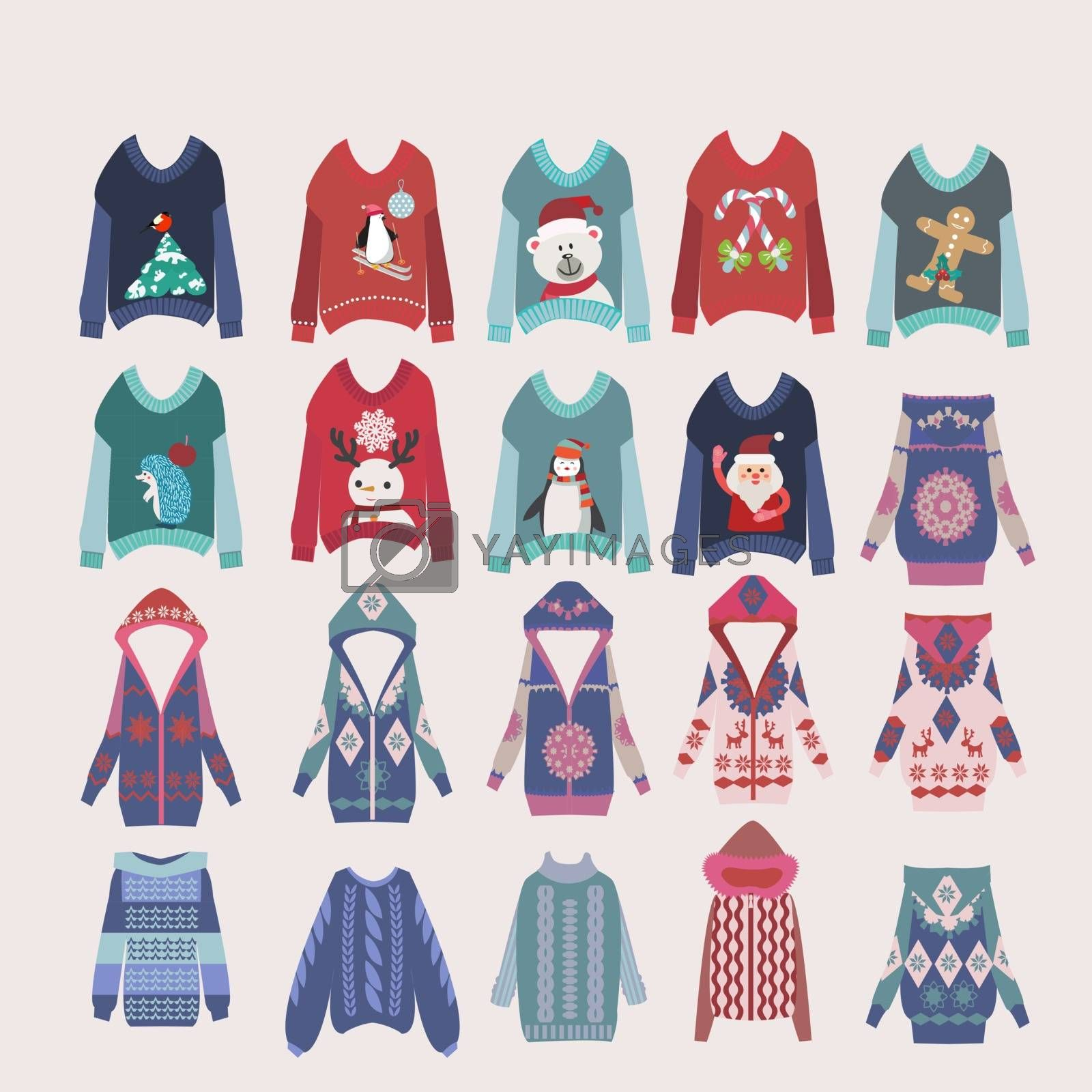Vector Hand drawn collection of different fashion knitting warm clothes in flat style. Collection of winter clothes  illustration.