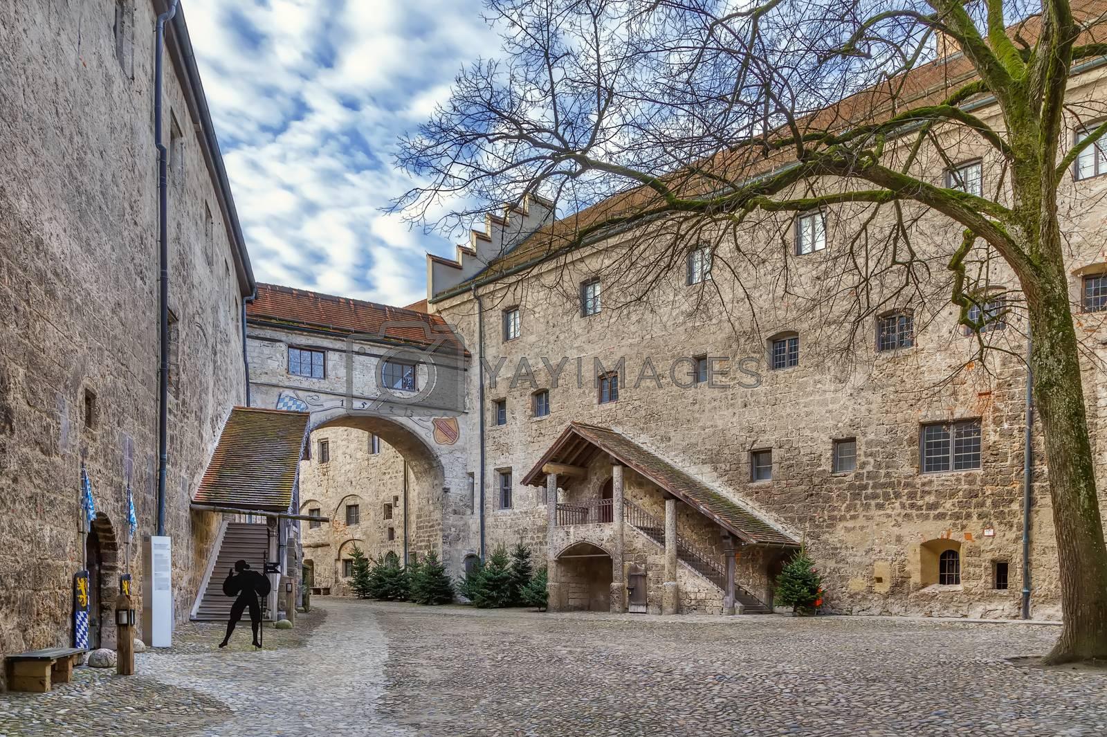 Inner castle courtyard in Burghausen castle, Germany