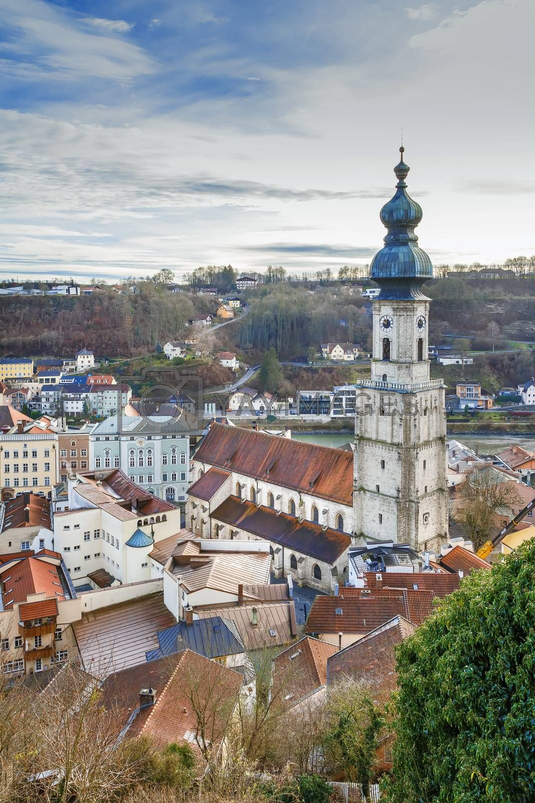 View of Burghausen city center with St. Jakob Parish Church from  Burghausen castle, Germany