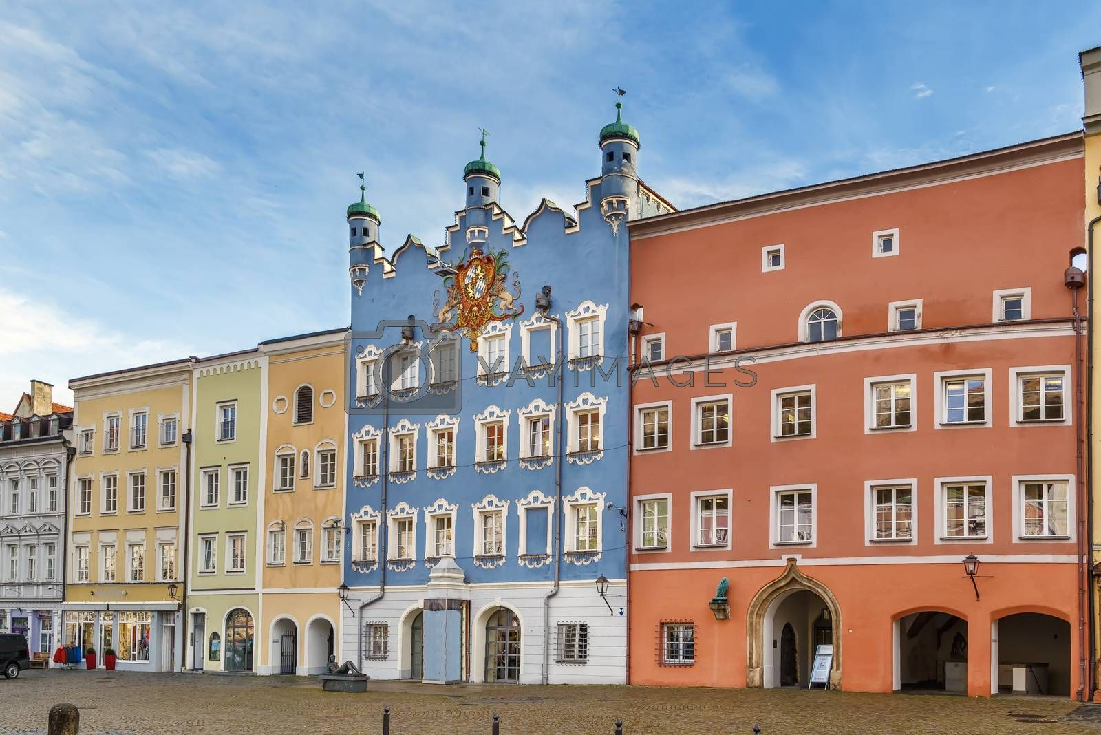 Historical houses on Town square in Burghausen, Germany