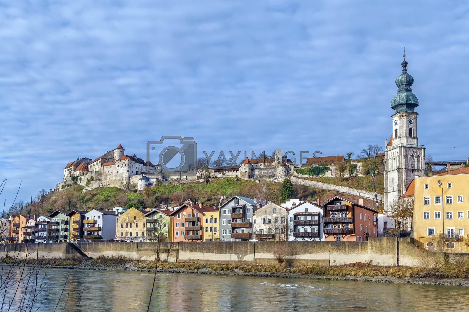 View of Burghausen from Salzach river, Upper Bavaria, Germany