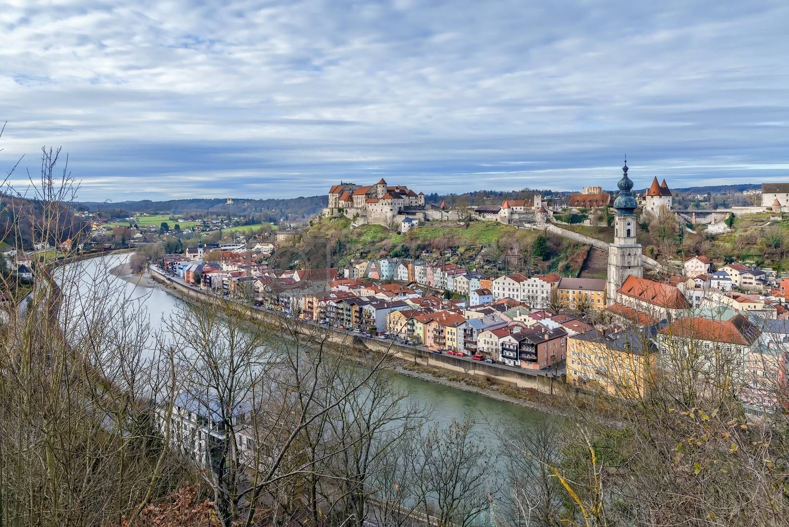 View of Burghausen from the hill across Salzach river, Upper Bavaria, Germany
