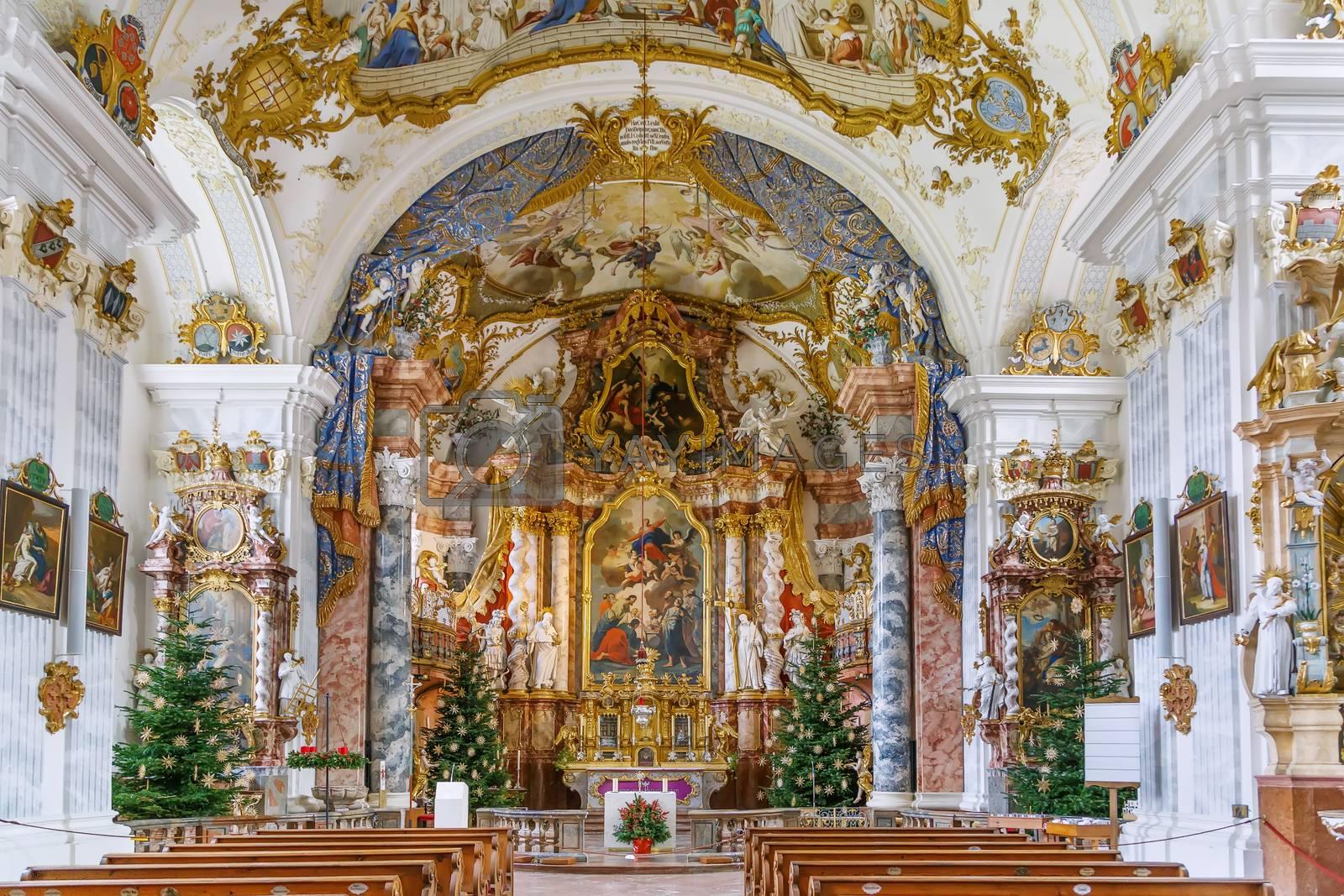 Church in Raitenhaslach abbey near Burghausen, Germany. Interior