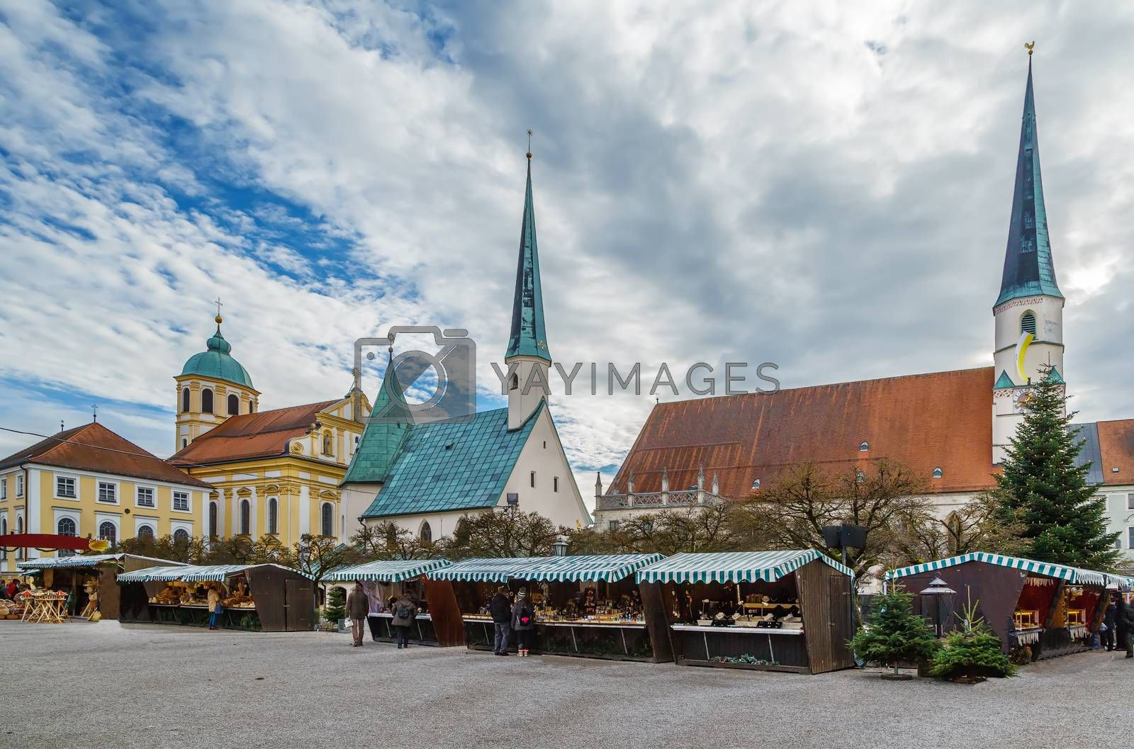 Main square with Christmas market, Altotting, Germany