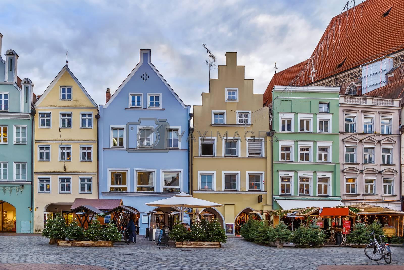 Historical houses on Altstadt street in Landshut, Germany