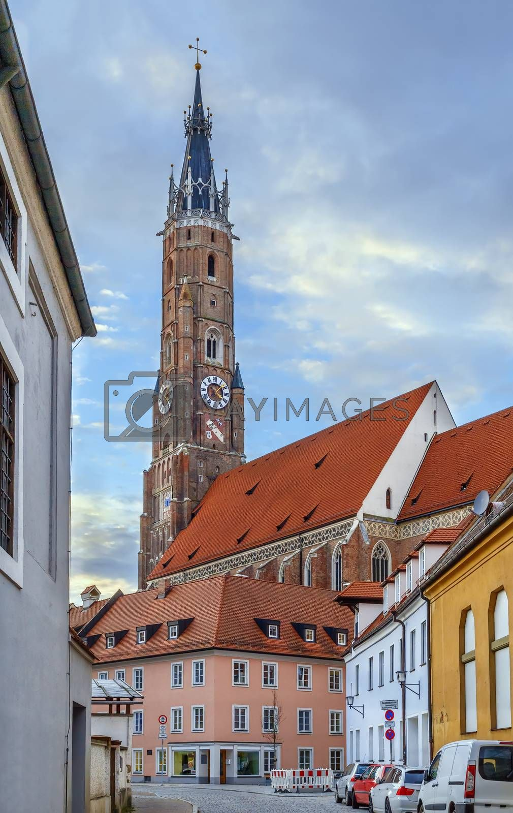 View of St. Martin Church in Landshut downtown, Germany