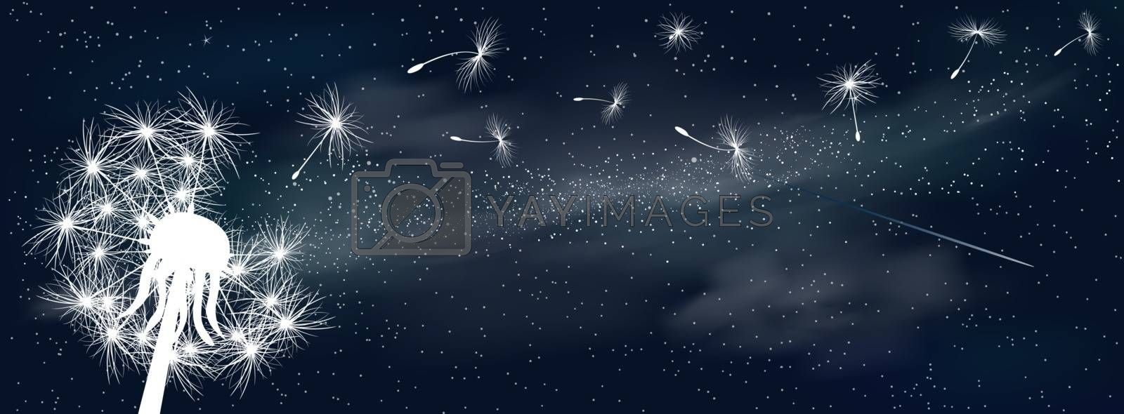 Space background. Fluffy dandelion in the background of the universe. Shining stars and nebula. Night starry sky.