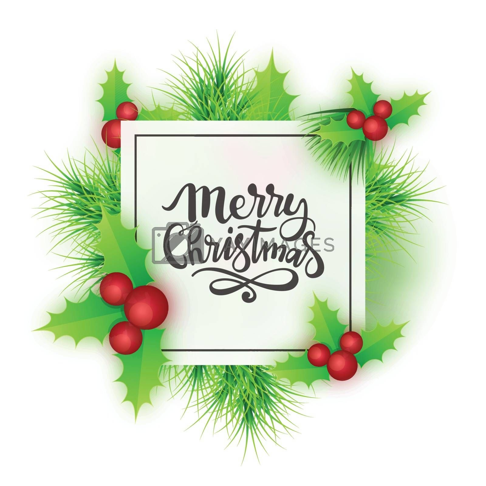 Greeting Card design with Stylish Text Merry Christmas on holly leaves and berries decorated background.