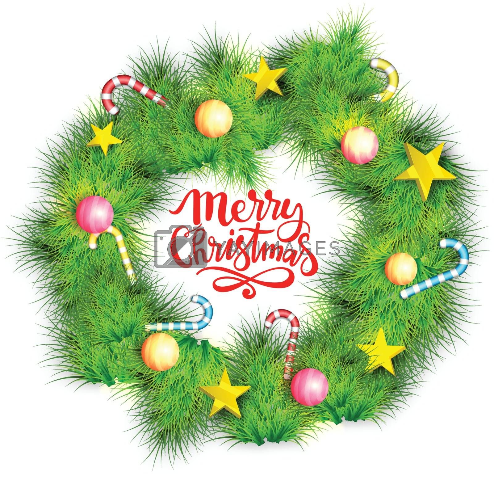 Christmas wreath decorated with glossy balls, golden stars and candy canes.