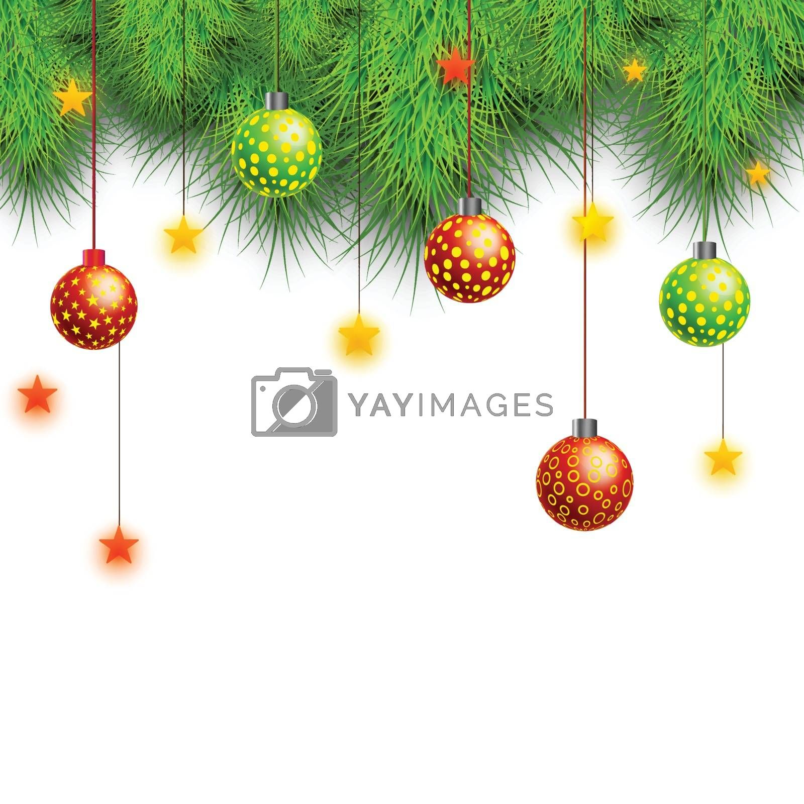 Merry Christmas celebration background with glossy hanging balls, stars and fir tree branches.