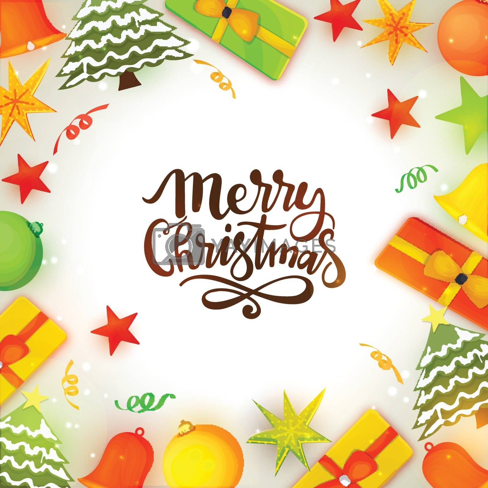 Merry Christmas celebration background with xmas trees, stars, balls, gifts and jingle bells decoration.