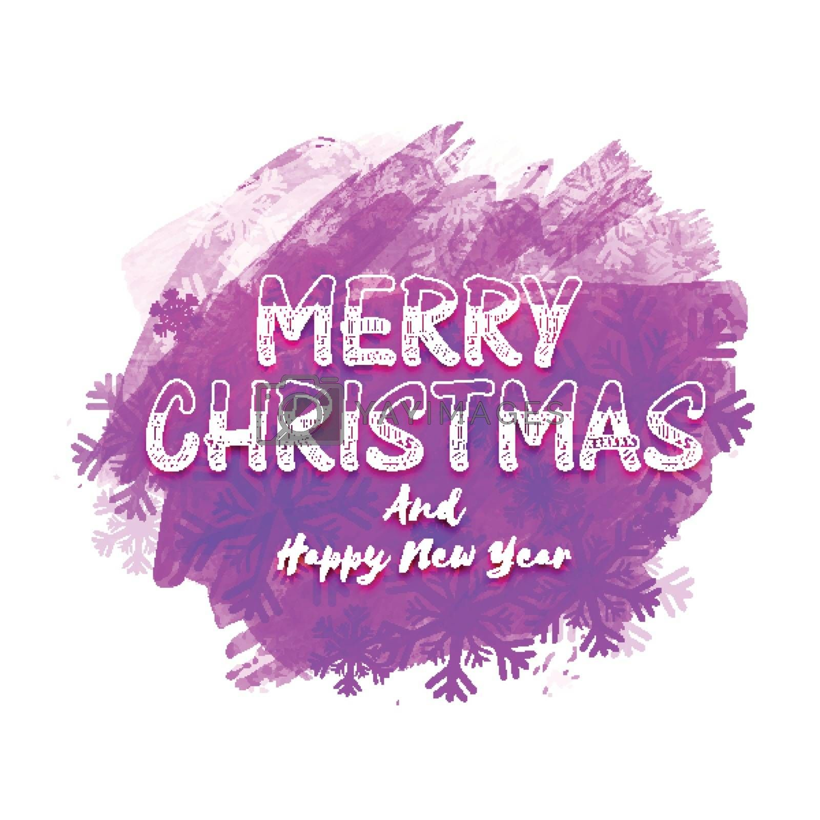Merry Christmas and Happy New Year Party Poster, Banner design with abstract brush strokes and snowflakes decoration.