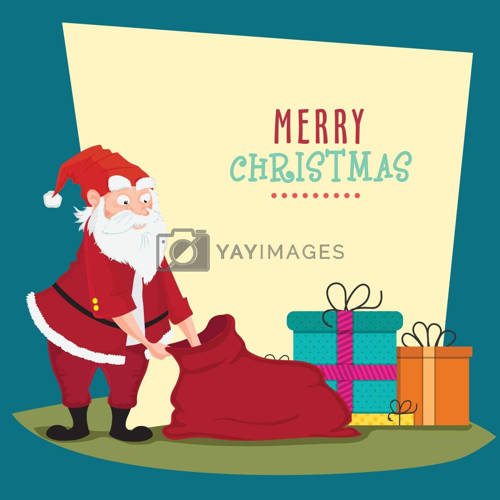 Santa Claus with Gifts Sack for Merry Christmas celebration.