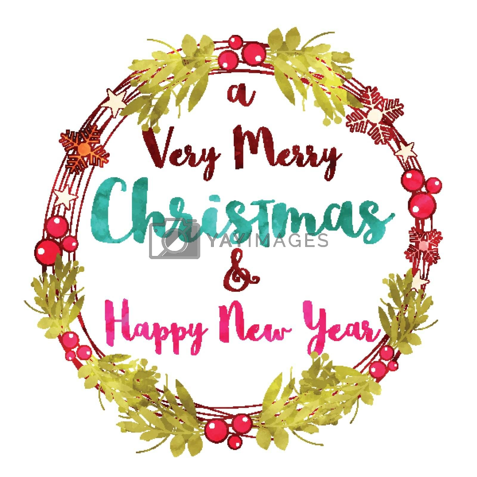 Very Merry Christmas and Happy New Year celebration Greeting Card design, Decorated with Holly Leaves, Berries and Snowflakes.