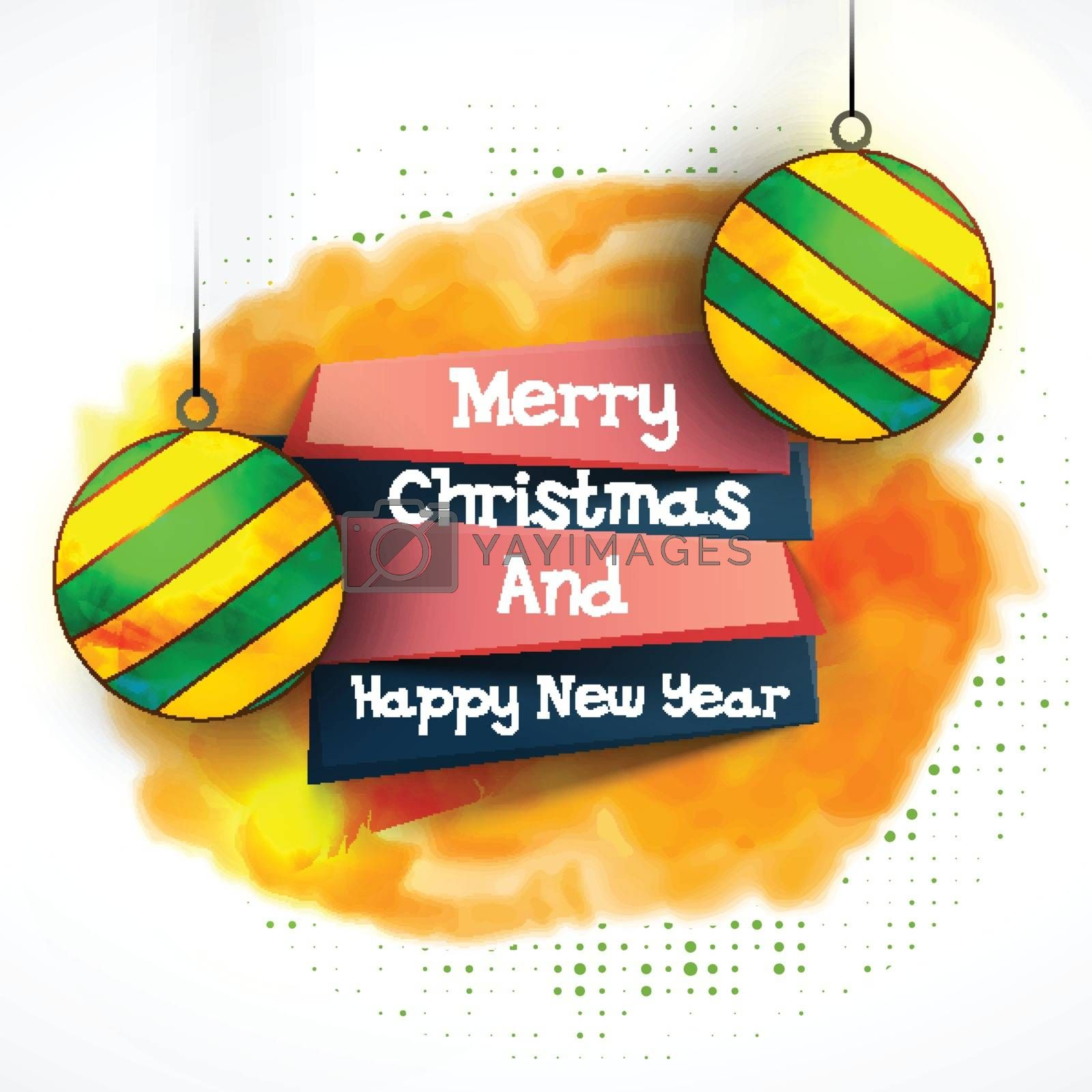 Merry Christmas and Happy New Year Party celebrations banner design, Abstract festive background decorated with glossy hanging Xmas Balls.