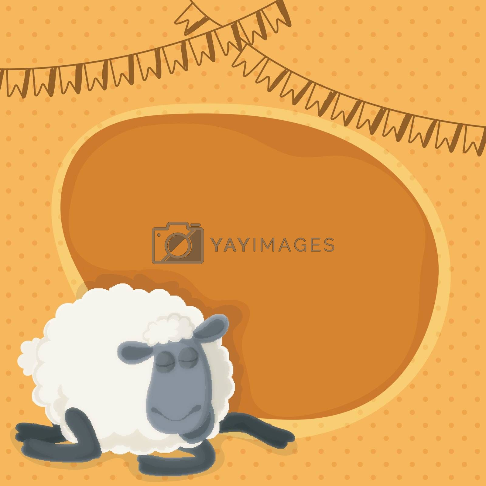 Cartoon sheep on buntings decorated yellow background. Eid-Al-Adha poster, banner or flyer design with space for your text.