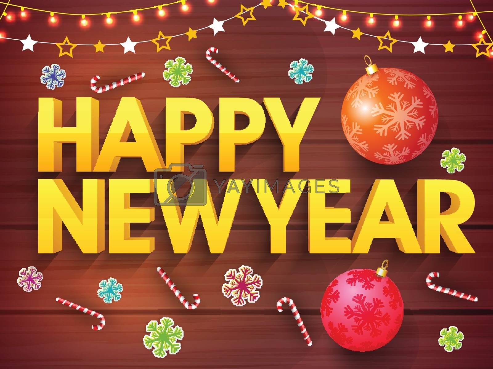 3D Golden Text Happy New Year on xmas ornaments decorated wooden background, Elegant Poster, Banner or Flyer design.
