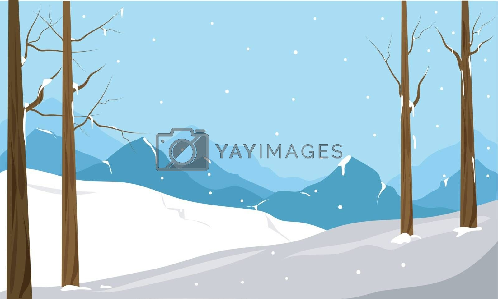 Beautiful winter landscape with snowfall, mountains, trees and snowy fields.