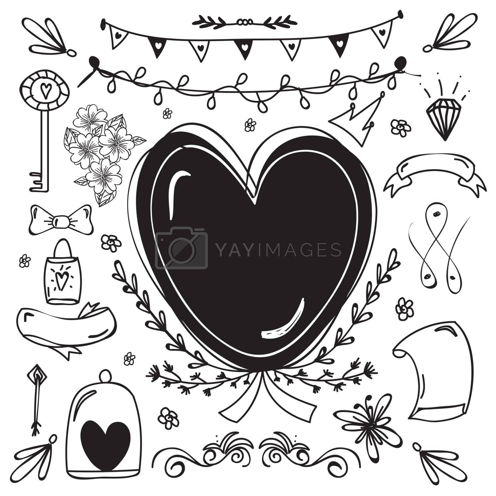 Black and white hand drawn doodle elements collection for Love concept.