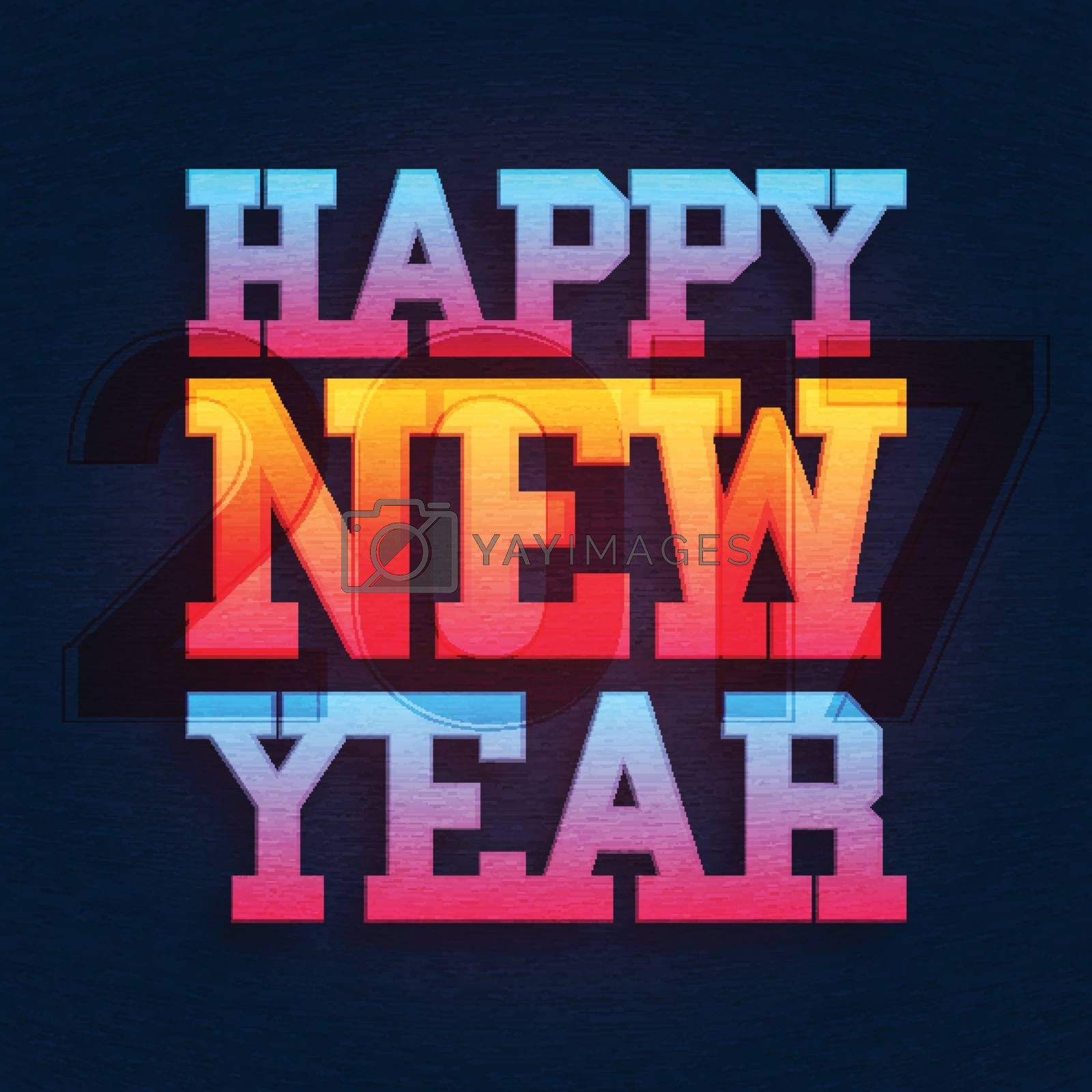 Greeting Card design with colorful text Happy New Year.