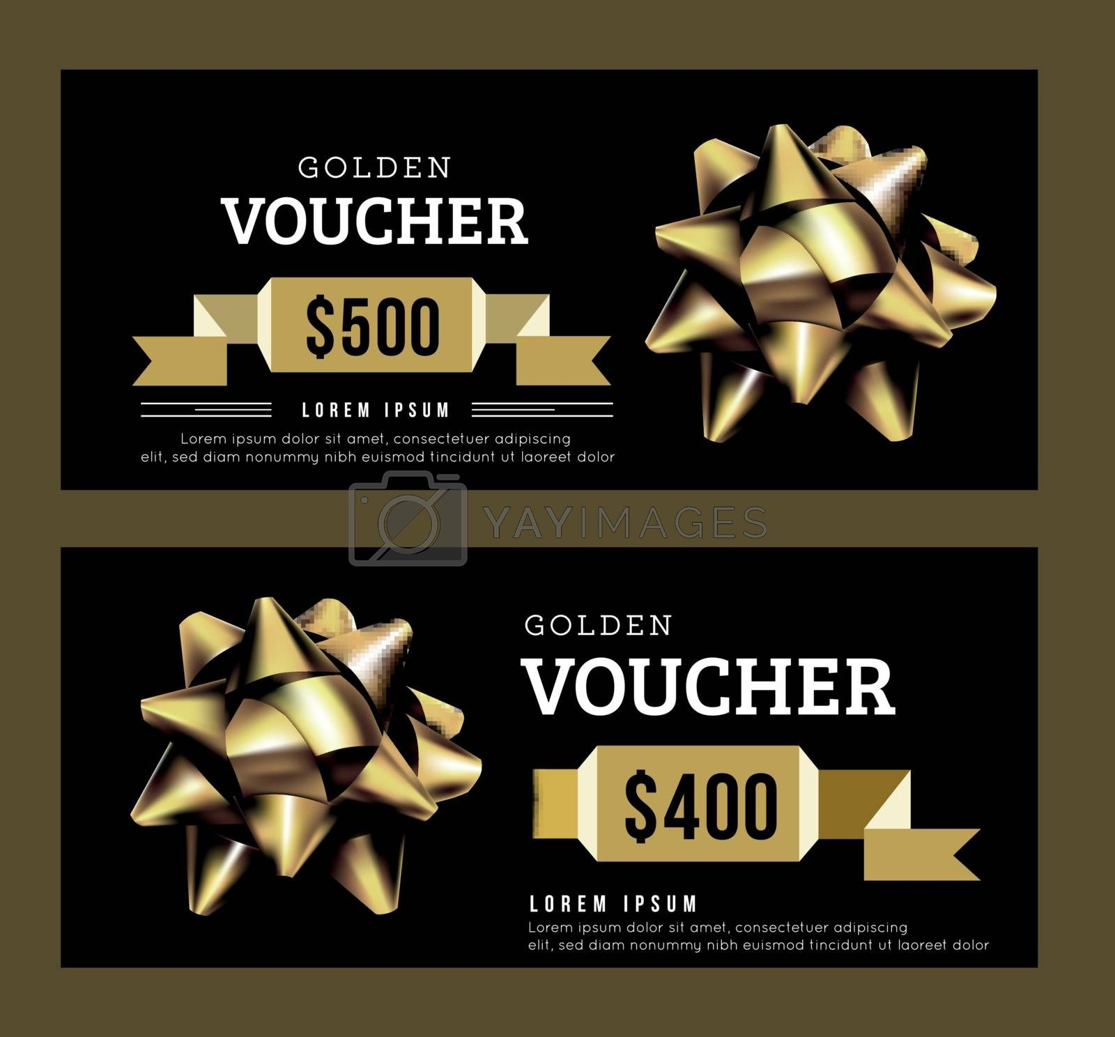 Royalty free image of Golden gift voucher abstract template. Gold on Black design. Golden ribbon. Vector illustration. by sermax55