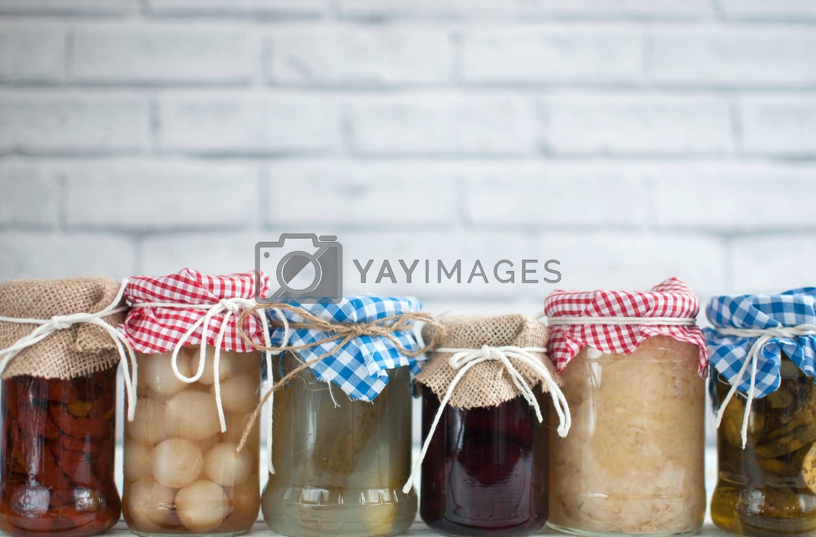 Royalty free image of Fermented vegetables background by unikpix