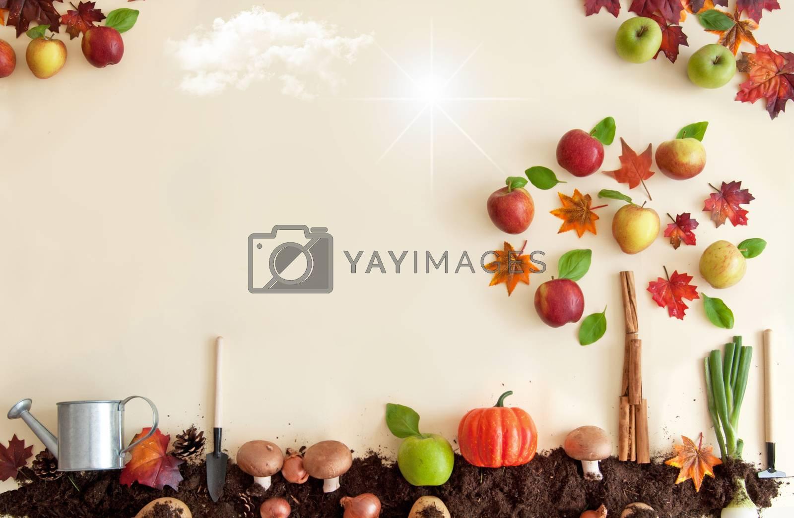 Royalty free image of Autumn season orchard background by unikpix