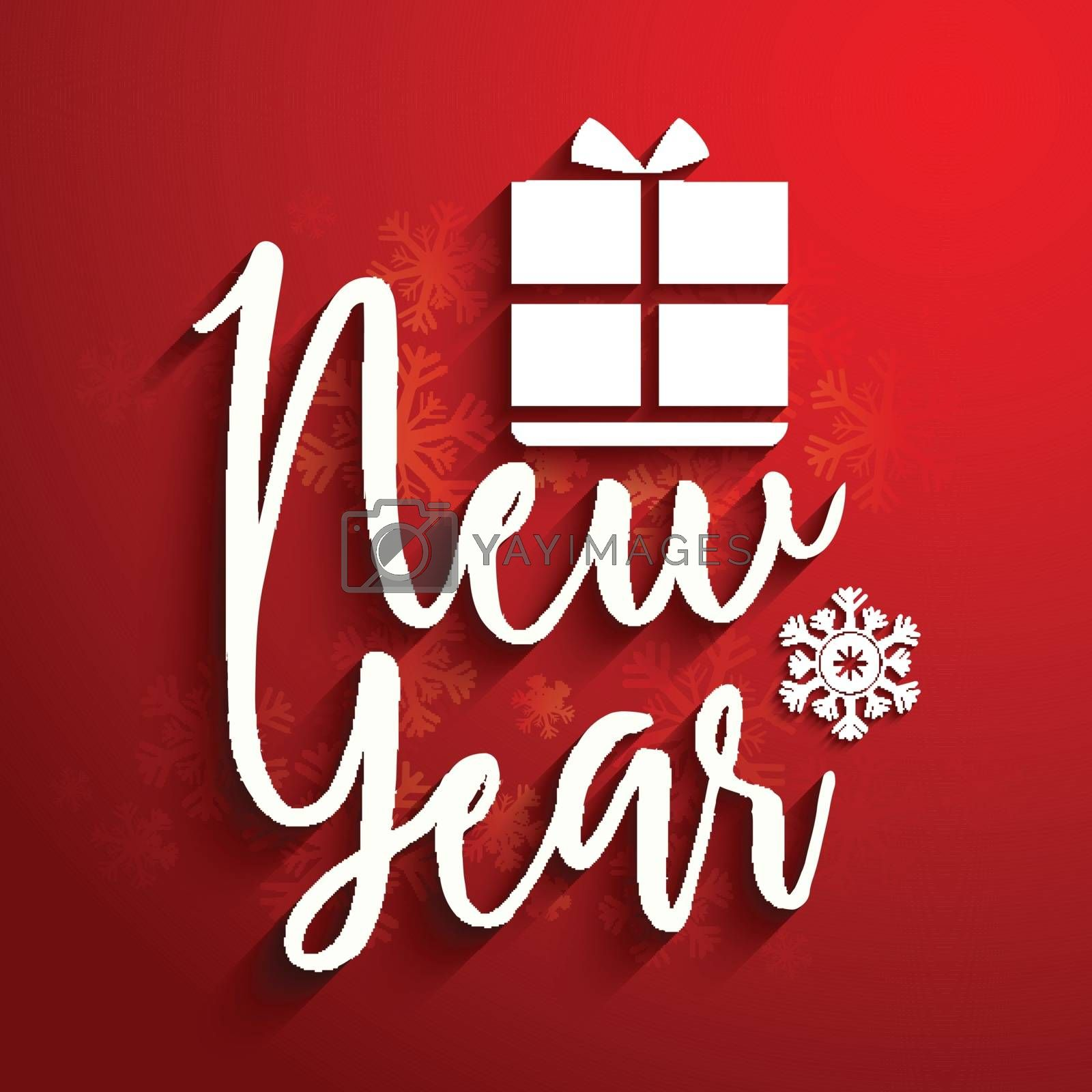 Stylish White Text New Year with Gift Box on snowflakes decorated red background.