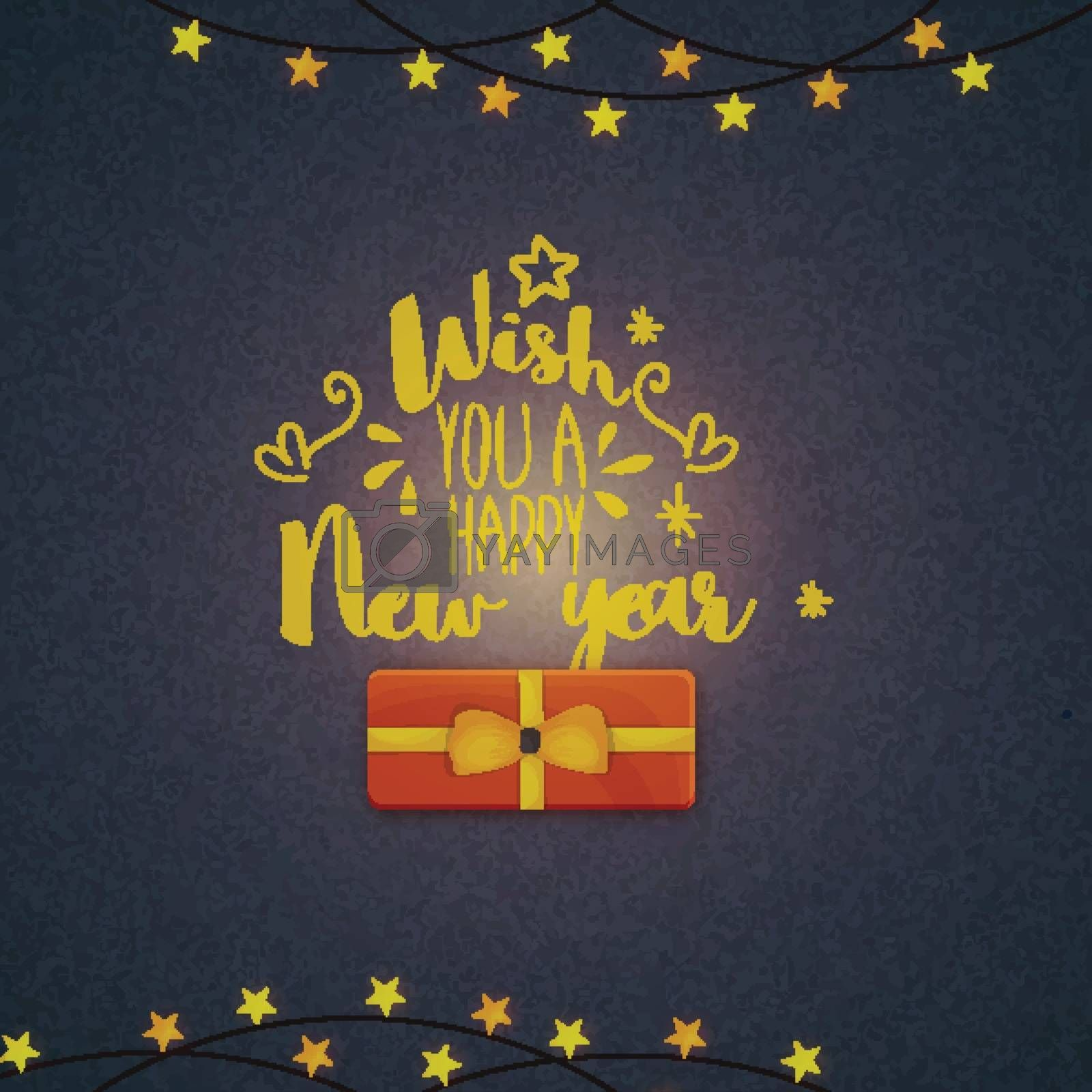 Happy New Year text design with gift box on stars decorated grungy background.