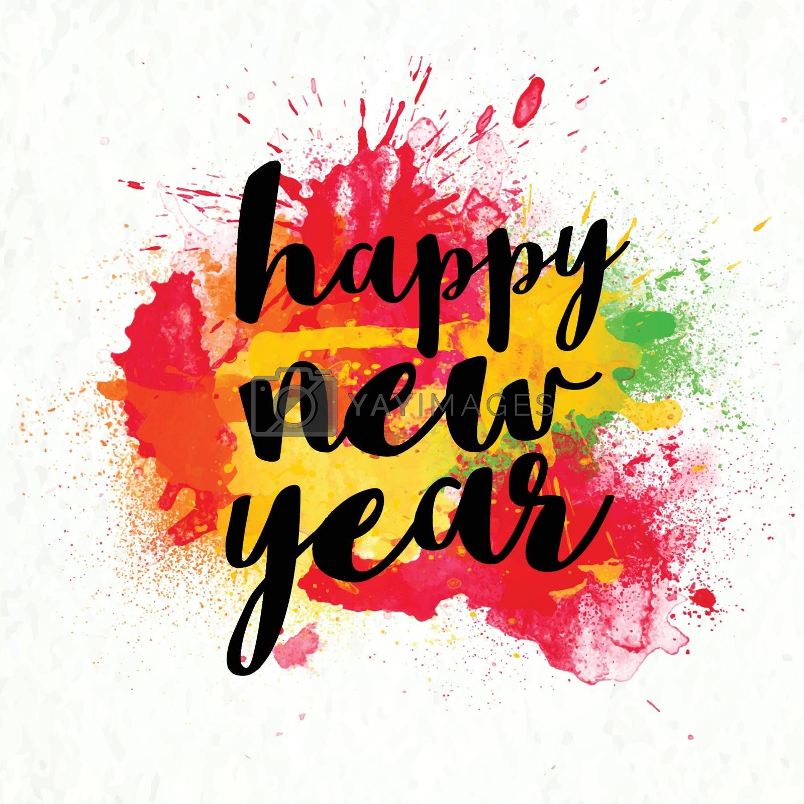 Stylish Text Happy New Year on colorful abstract background.