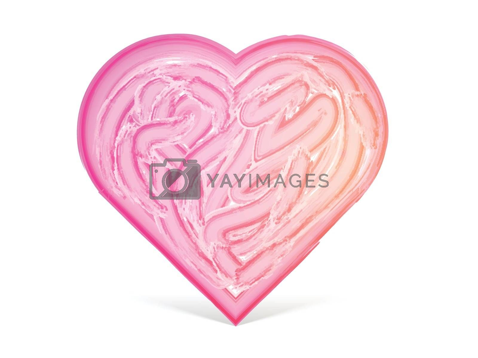 Creative Heart design made by brush strokes for Happy Valentine's Day Celebration.