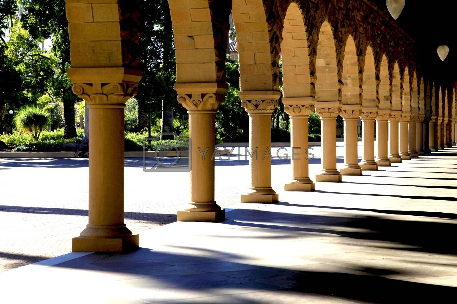 Covered arch way near the main Quad of Stanford University campus located in Palo Alto, California.