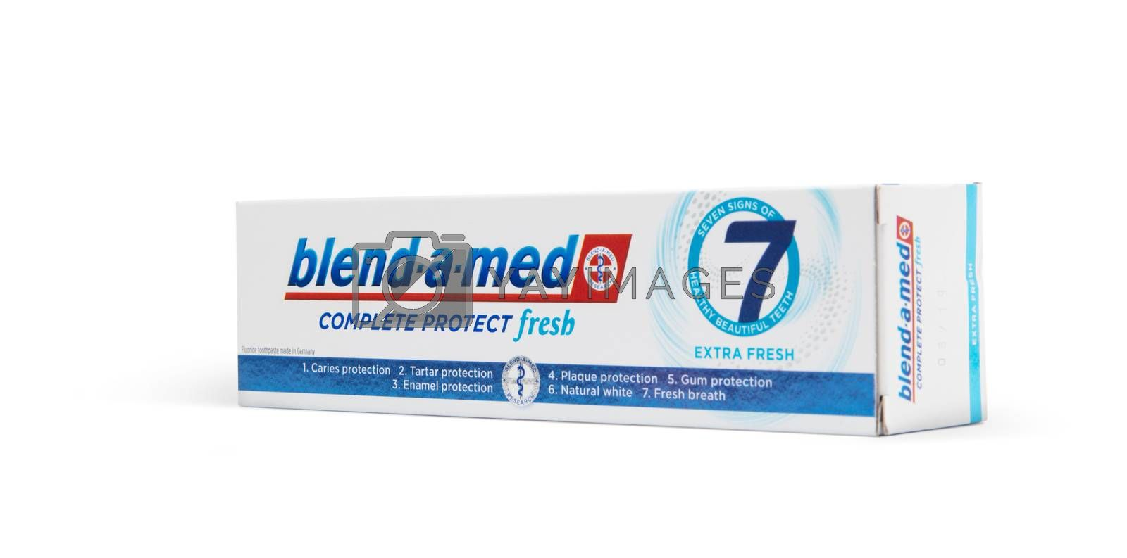Chisinau, Moldova - October 19, 2019. Blend-A-Med toothpaste,  Extra Fresh,  made by Procter & Gamble. Isolated on white background