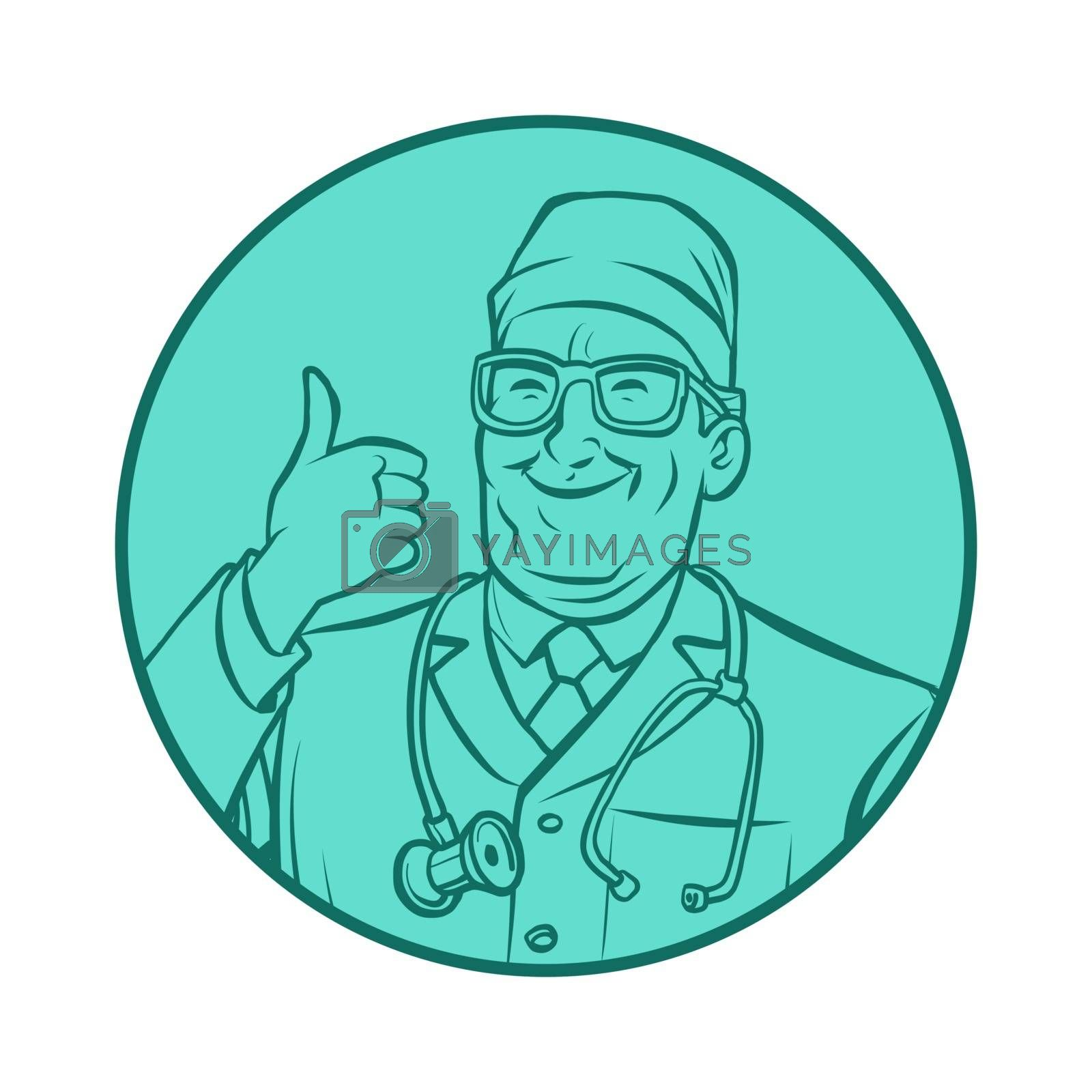 leinart graphics doctor therapist, thumb up gesture. Comic cartoon pop art retro vector drawing illustration