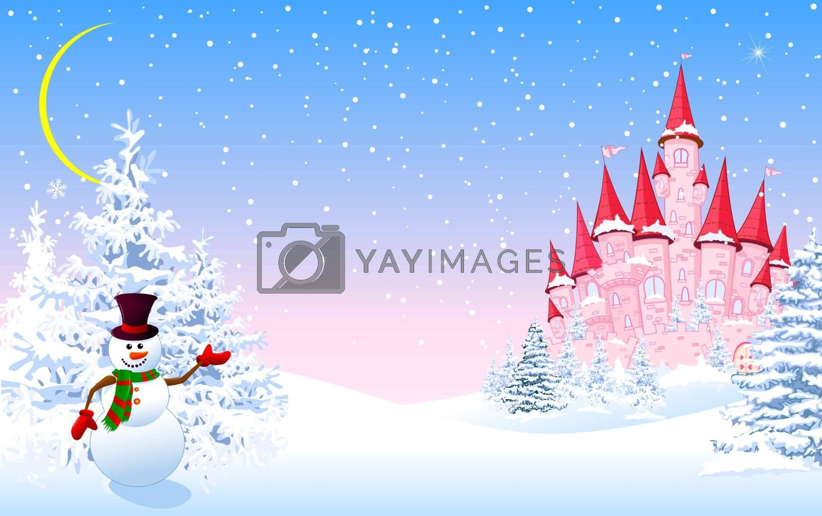 Cartoon pink castle and a snowman on a background of a winter snowy forest. Winter landscape with a pink castle.