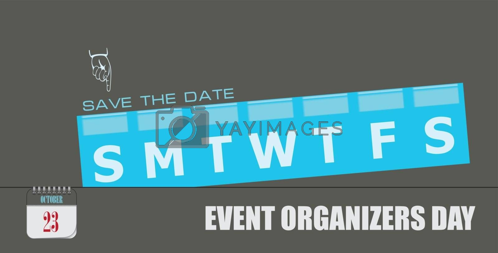 Post card for date Event Organizers Day. Holiday dates in october.
