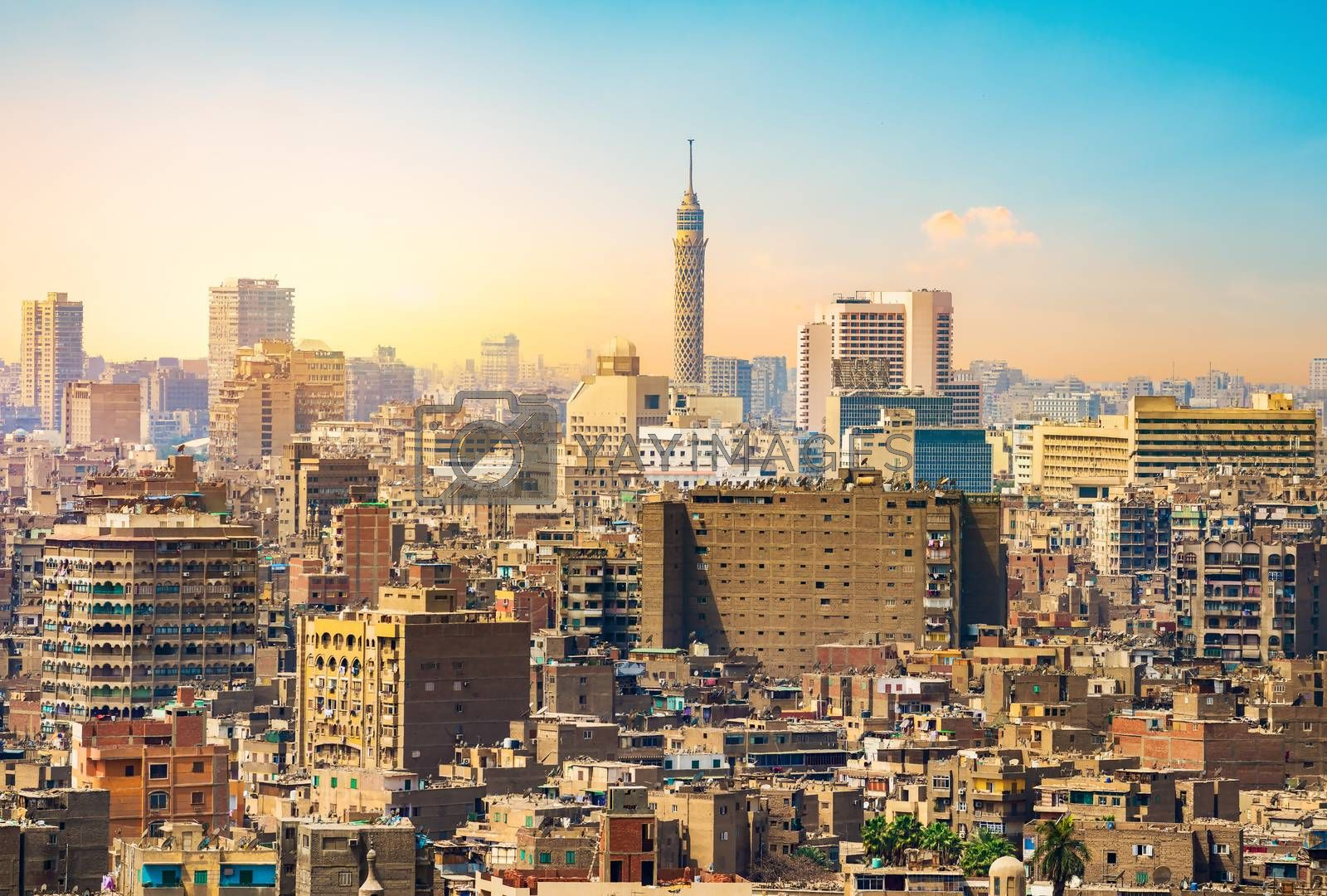 Beautiful panorama of the city of Cairo in Egypt