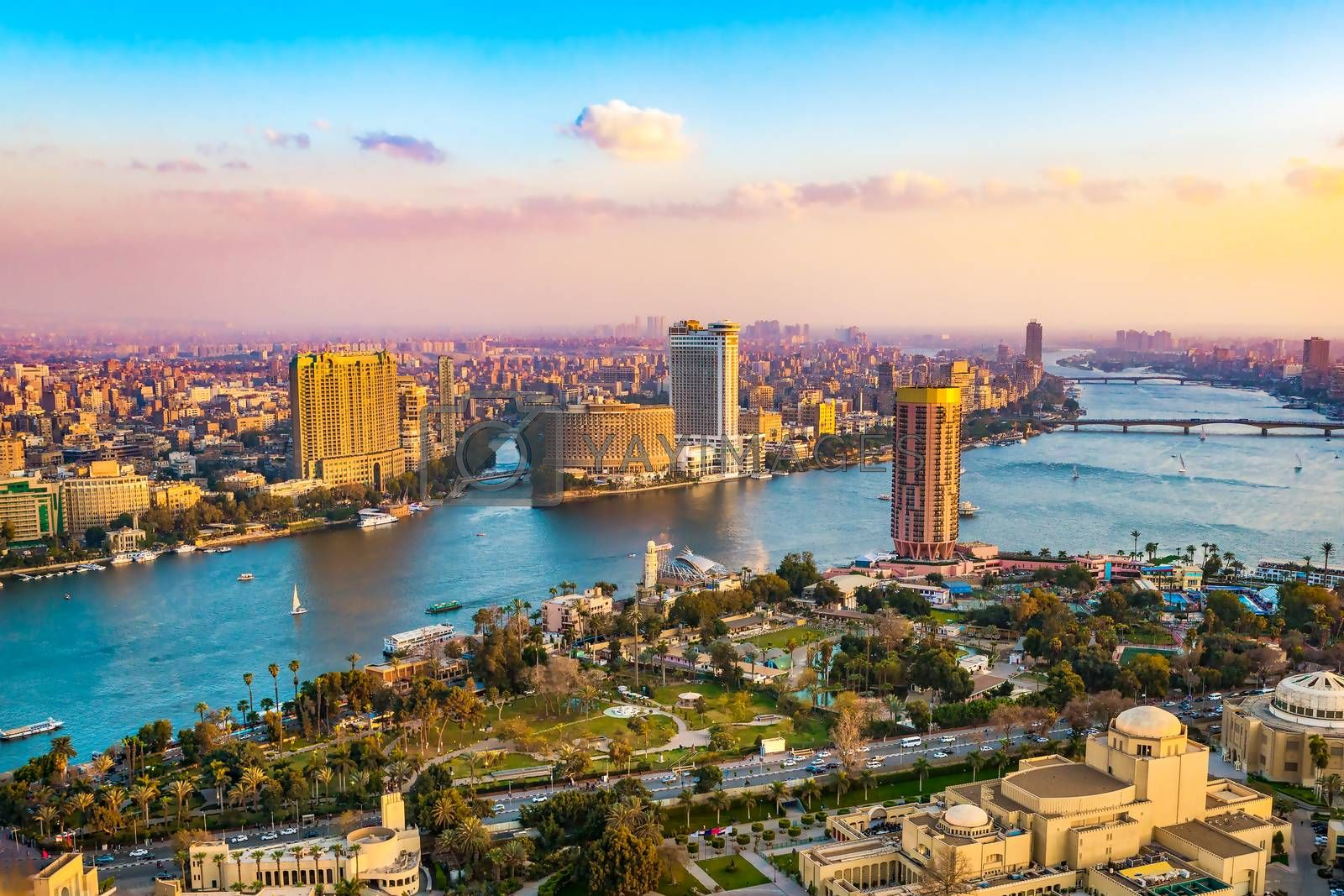 Panorama of Cairo cityscape taken during the sunset from the famous Cairo tower, Cairo, Egypt