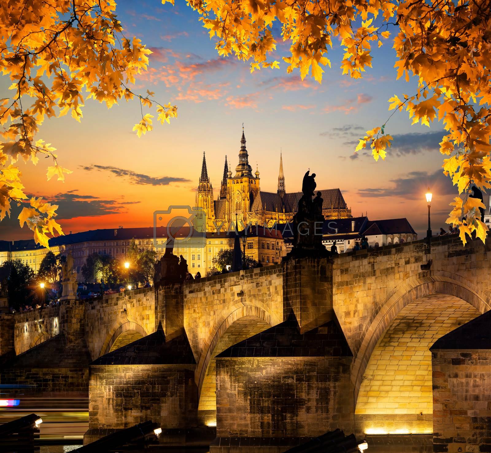 Illuminated Charles Bridge on river Vltava in Prague at sunset