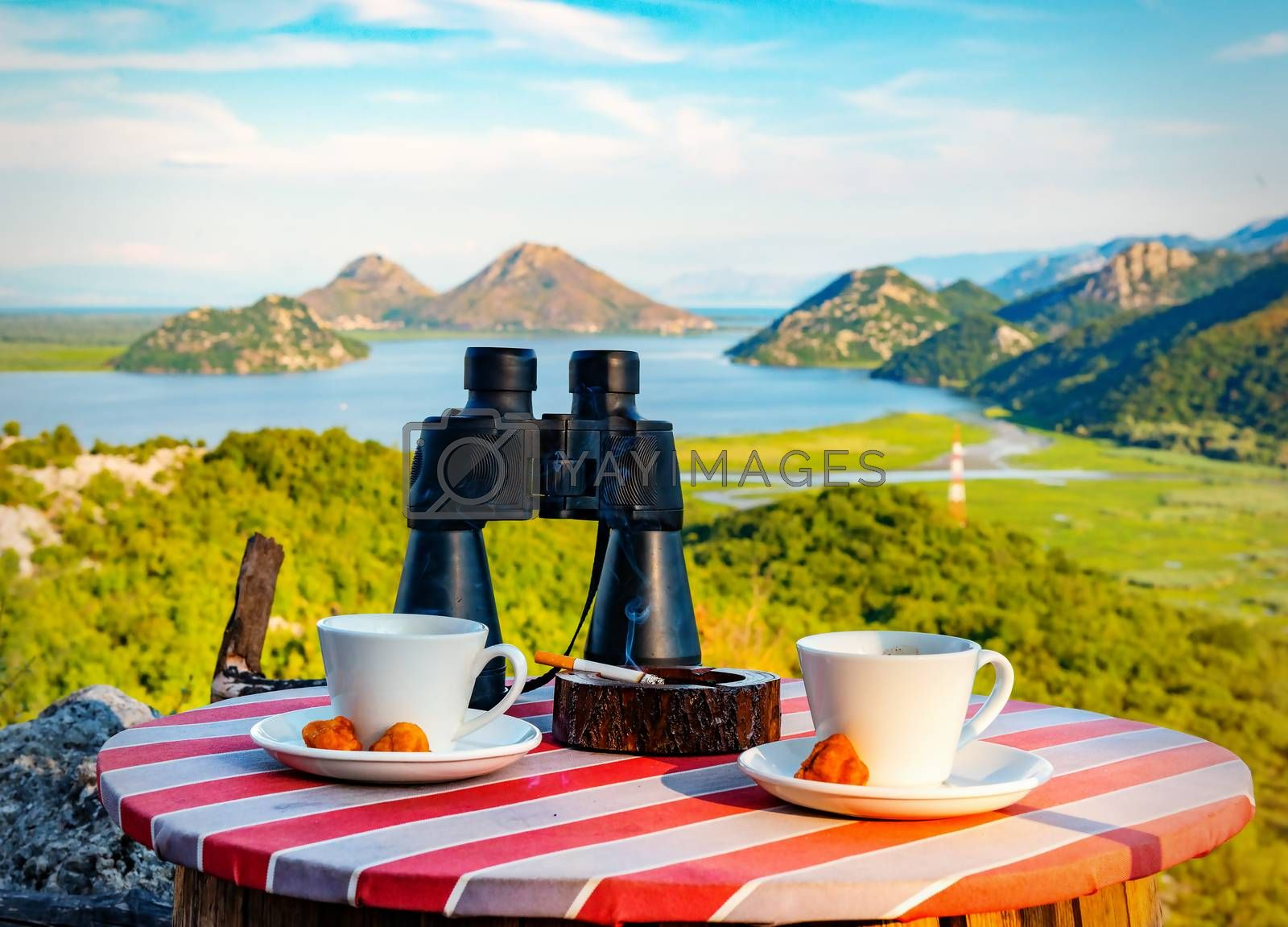 View from the cafe to the mountains and Skadar lake